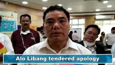 Photo of Health Minister Alo Libang tendered apology on his statement on treatment of Covid-19 patient of Eastern Arunachal in Assam.