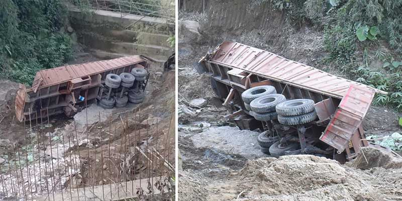 Itanagar- Driver, Handyman die as truck falls on gorge near shiv mandir