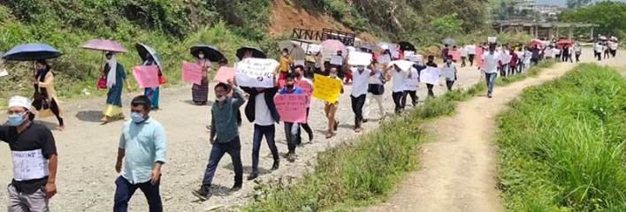 Arunachal- Protest March in longding demanding arrest of army jawan involved in firing incident