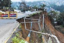 Itanagar:  Portion of T T Marg collapse due to heavy rainfall