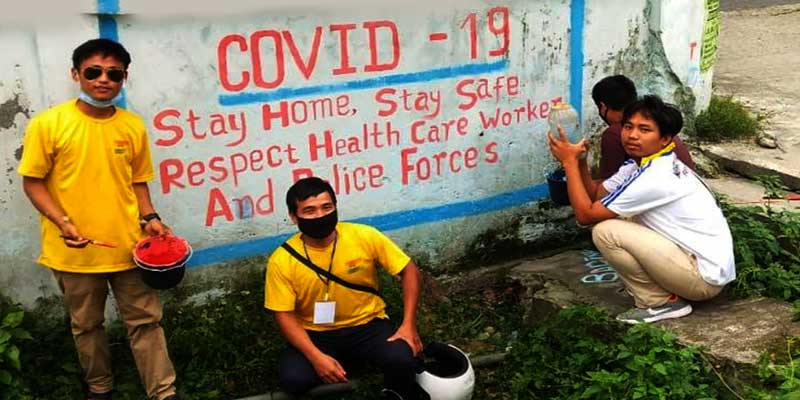 Arunachal: poster and wall writing campaign on coronavirus by NYK and NDRF