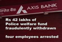 Itanagar: Rs 42 lakhs of Police welfare fund from Axis bank account fraudulently withdrawn, four employees arrested