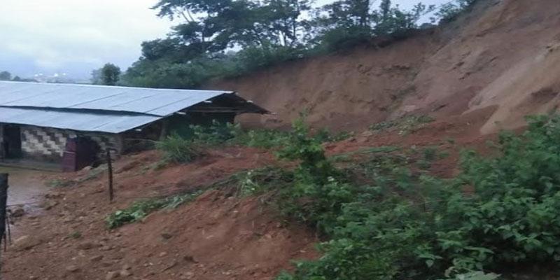 Itanagar- house damaged due to landslide in Senyik Colony