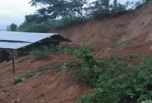 Itanagar- house damaged due to landslide in Senyik Colony