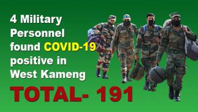 Photo of Arunachal: 4 Military Personnel found COVID-19 positive in West Kameng, tally rises to 191