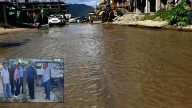 Photo of Arunachal:NHIDCL officials visits Bage Tinal where road looks like Pond