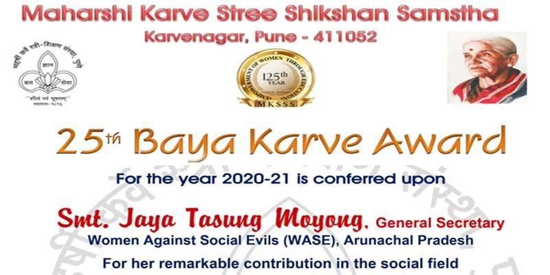 Arunachal: WASE's Joya Tasung Moyong receives 25thBaya Karve Award
