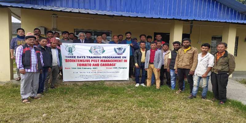 Arunachal: Training on biointensive pest management in tomato and cabbage concluded at CHF, Pasighat