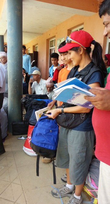 The best part: Handing school supplies bought in Kathmandu and rain ponchos and space blankets, personally and directly to the children and seeing them smile! Thank you donors, you made this possible.  Thank you Reetu and team for organizing!