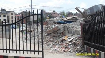 This is the gate to my mom's apartment. The quake partially destroyed it and took the whole clinic building in front of it and turned it to rubble!