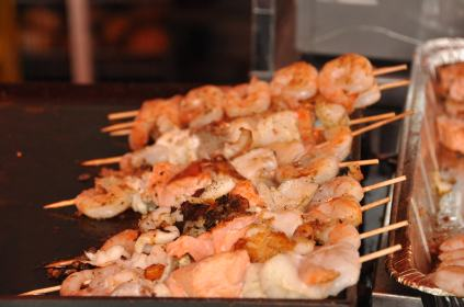 The skewers of fresh Sea Food