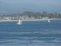 The far off coastline view