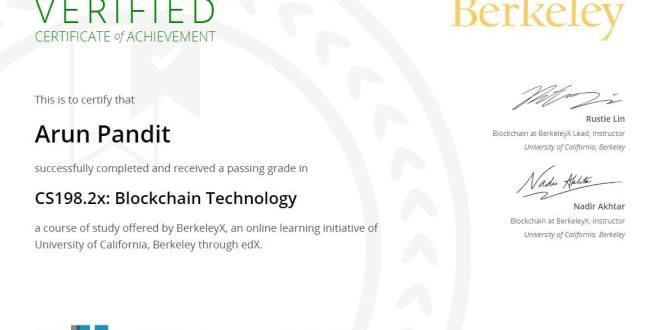 Certificate of Achievement : Blockchain Technology from University of California , Berkeley