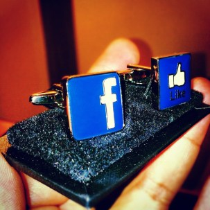 Got me Facebook cufflinks as well. I now wear my work on my sleeve.