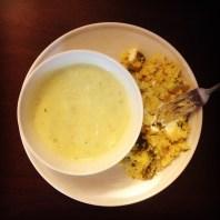 Zucchini soup and polenta