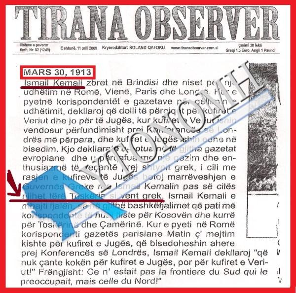 TIRANA OBSERVER 30-3-1913 Η ΤΟΣΚΕΡΙΑ ΕΙΝΑΙ ΕΛΛΗΝΙΚΗ