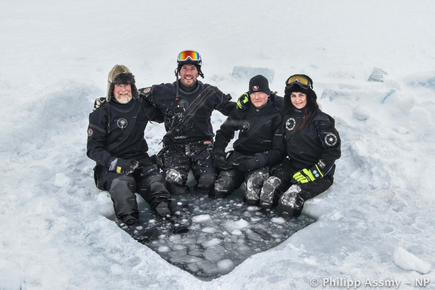 The dive team on the Nansen Legacy Q2/21 cruise came from the Norwegian Polar Institute and consisted of Haakon Hop, Peter Leopold, Mikko Vihtakari, and Amalia Keck seen from the left to right (photo: Philipp Assmy).