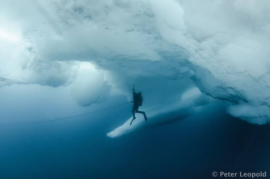 A diver with a suction pump under an ice ridge somewhere in the deep blue Arctic Ocean (archive photo: Peter Leopold).