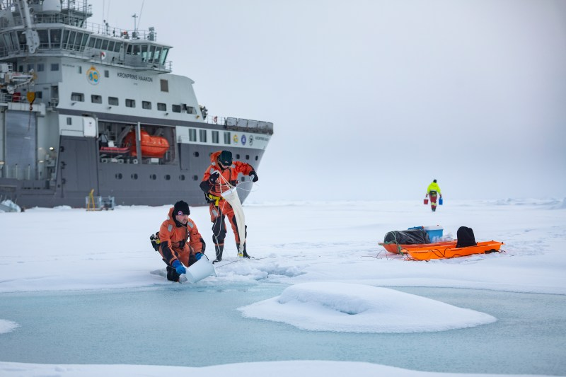 Sampling microalgae in a melt water pond on top of the sea ice in the northern Barents Sea in August 2019
