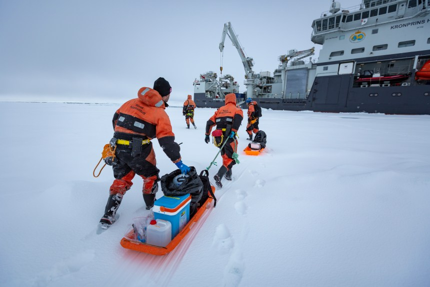 Nansen Legacy researchers return to RV Kronprins Haakon after having sampled the sea ice at a station in the northern Barents Sea, August 2019