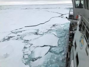 RV Kronprins Haakon is breaking ice with sediments in the Transpolar drift current (Agneta Fransson, NPI)