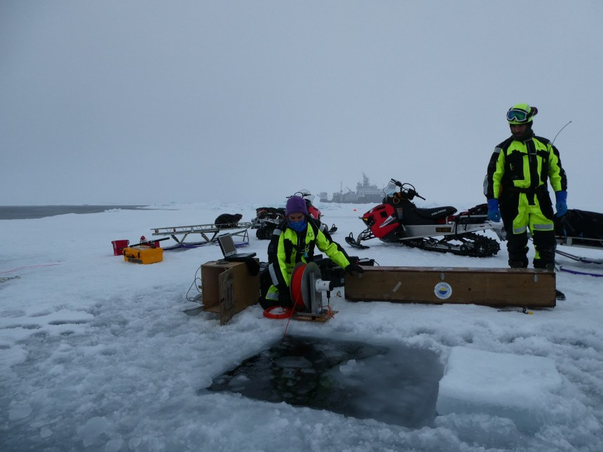 MSS profiling during one of the ice station Photo: Eirik Hellerud