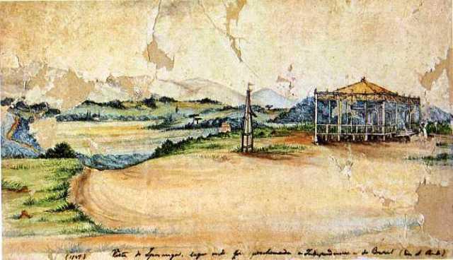 Vista do Ipiranga em 1847. Araucárias adultas sobressaindo nos capões de mata.