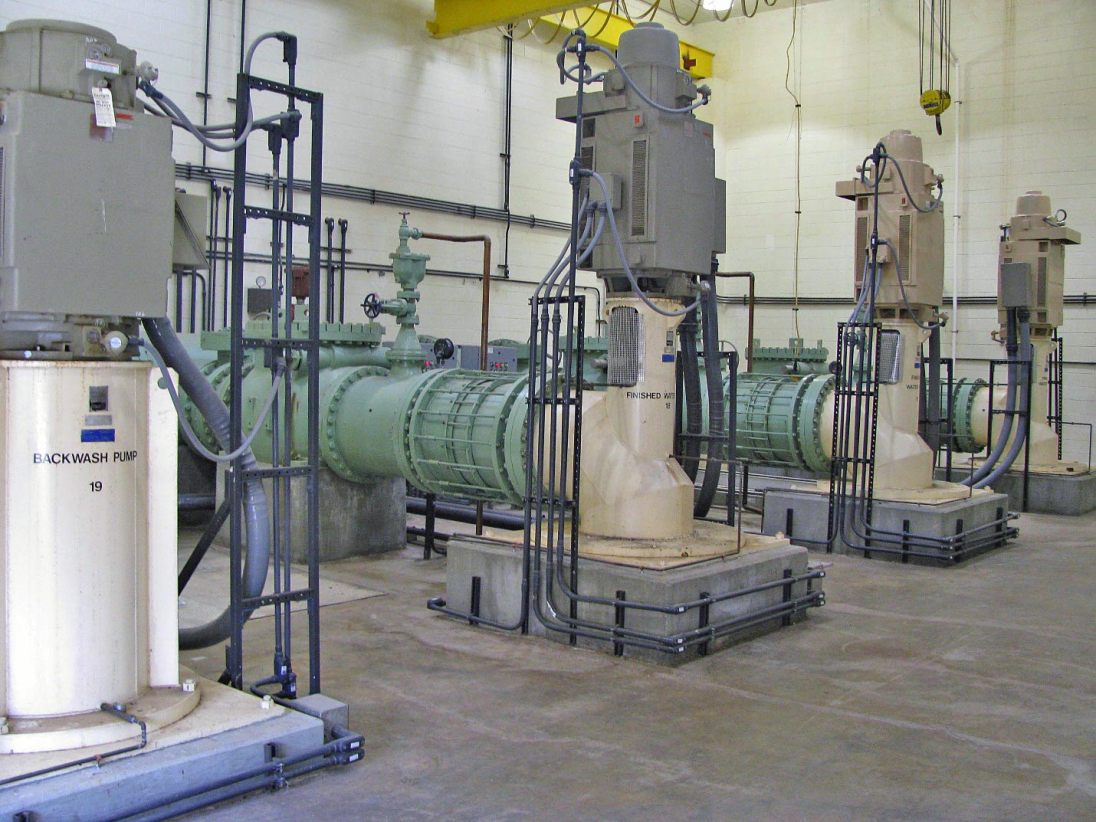 Finished water can be fed to the transmission system or pumped out if necessary. Gravity feed is preferred to keep costs down and prevent excess pressure in the system. Pumping can be done from either finished water pump station #1 or finished water pump station #2.