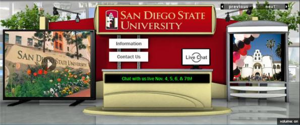 SDSU's booth at the College Week Live online college fair.