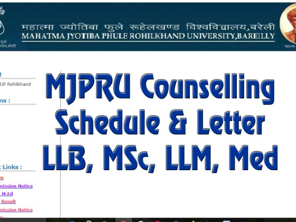 MJPRU Counselling 2021 Schedule & Letter LLB, MSc, LLM, Med