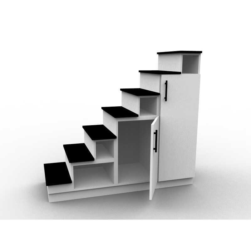 meuble escalier blanc et noir double espace de rangement modele eteya