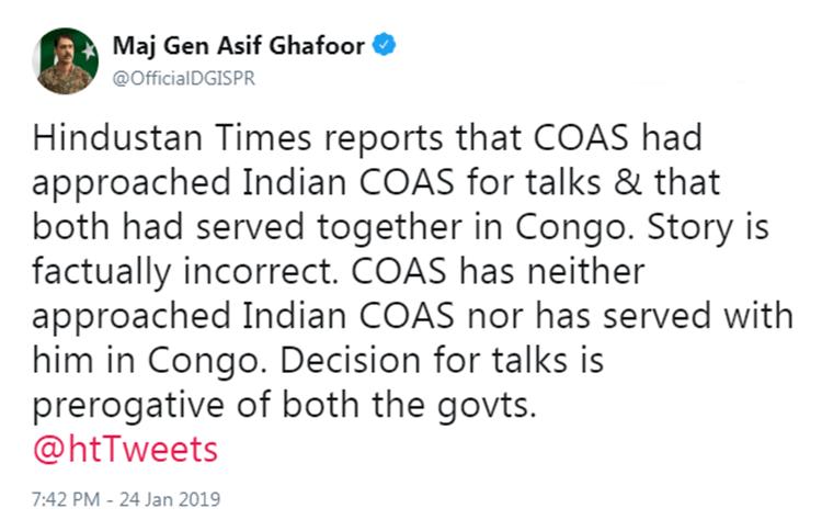 Asif Ghafoor, DG ISPR, Hindustan Times,