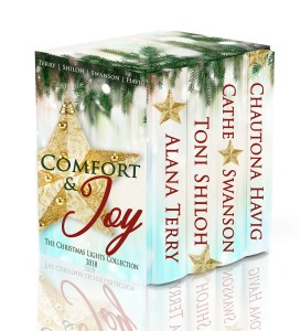 Group of comfort and joy books in cardboard box cover isolated on white background