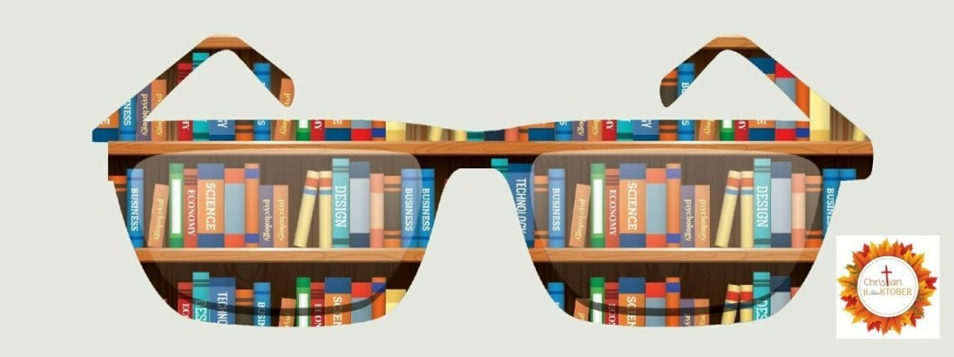 cutout of a pair of glasses showing a bookshelf
