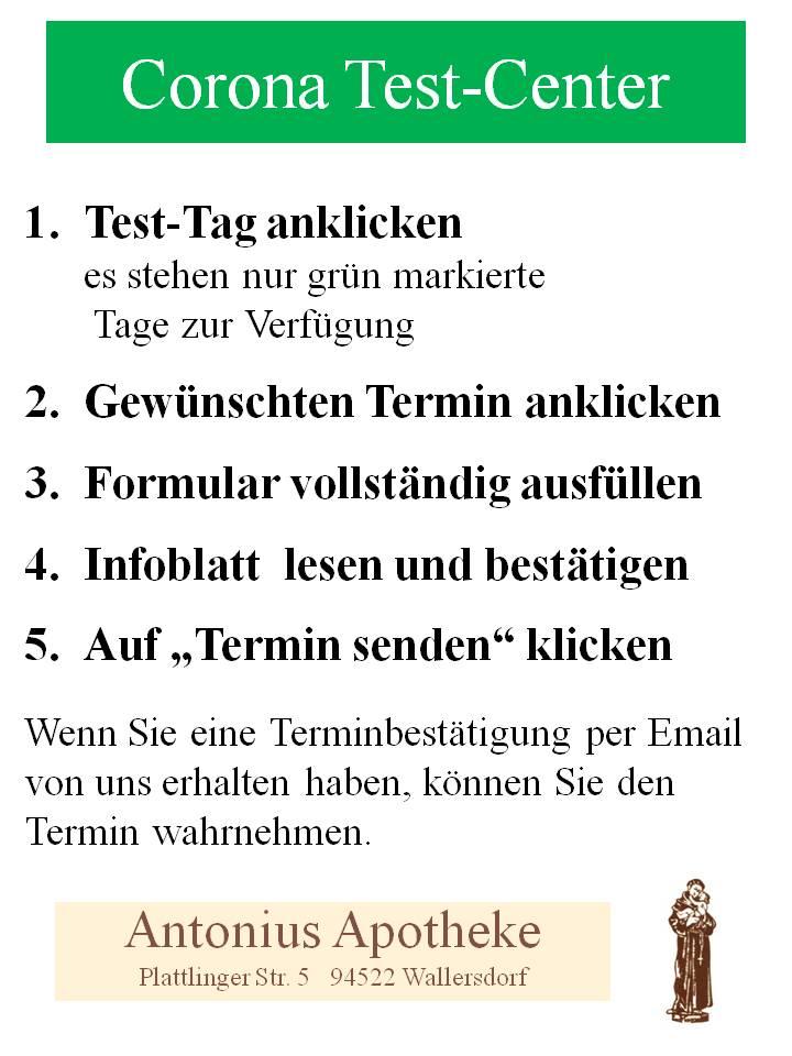 Corona Testcenter Wallersdorf Anleitung zur Online-Buchung