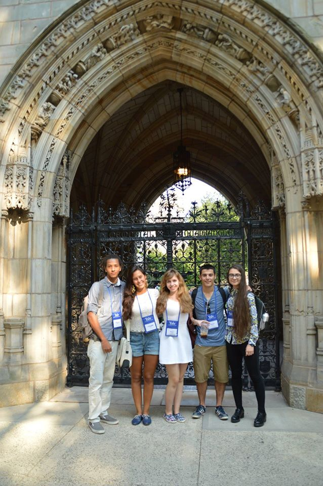 In front of one of the beautiful gates at Yale
