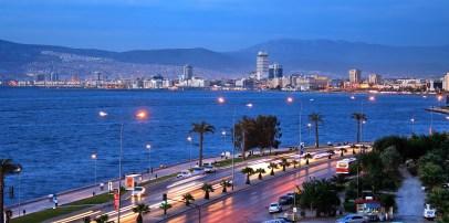 Izmir harbourfront at night