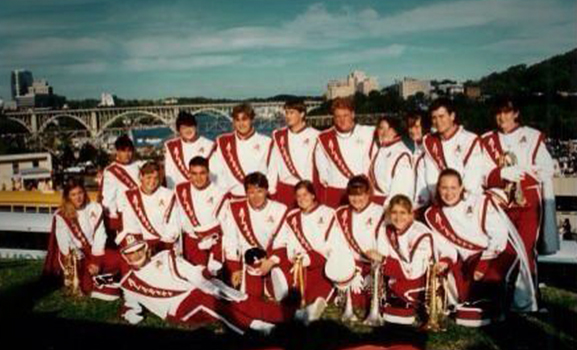 Eighteen members of the 1994 band pose in Knoxville, Tennessee.