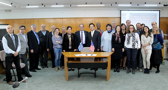 Delegation of UA faculty with partners at Aristotle University of Thessaloniki