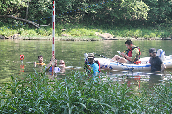 NFIE participants and Dr. Sagy Cohen wading in the Cahaba River