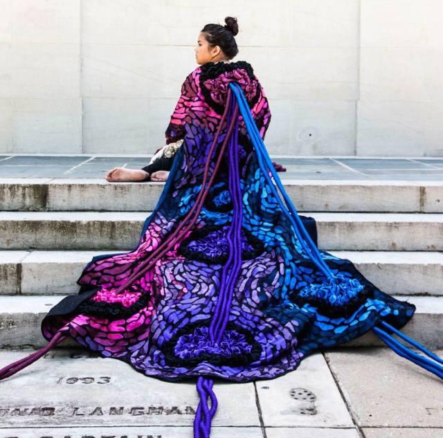 Classmate Jennifer Ocampo models a kimono by Ali Hval on UA's Quad.