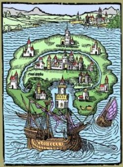 Map of Utopia from Thomas More's Utopia