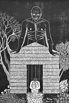 "Aliosky García Sosa's woodcut print ""Tu Propio Cielo"" (Your Own Sky)."