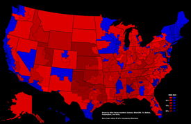 map of the United States depicting red and blue states