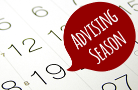 a calendar with a small red oval labeled Advising Season