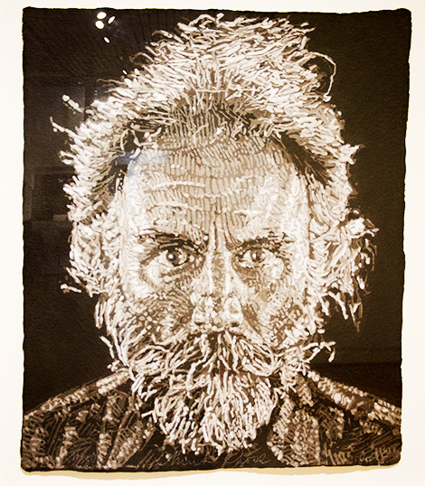 black and white painting of an old, bearded man