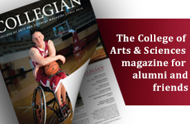 front cover of new issue of the Collegian, the College of Arts and Sciences magazine for alumni and friends