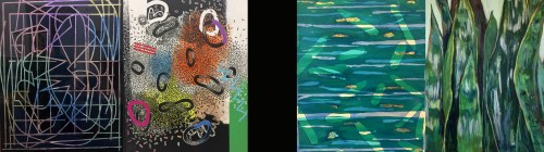 several abstract paintings