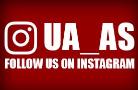 Instagram logo with text that says UA_AS, Follow us on Instagram