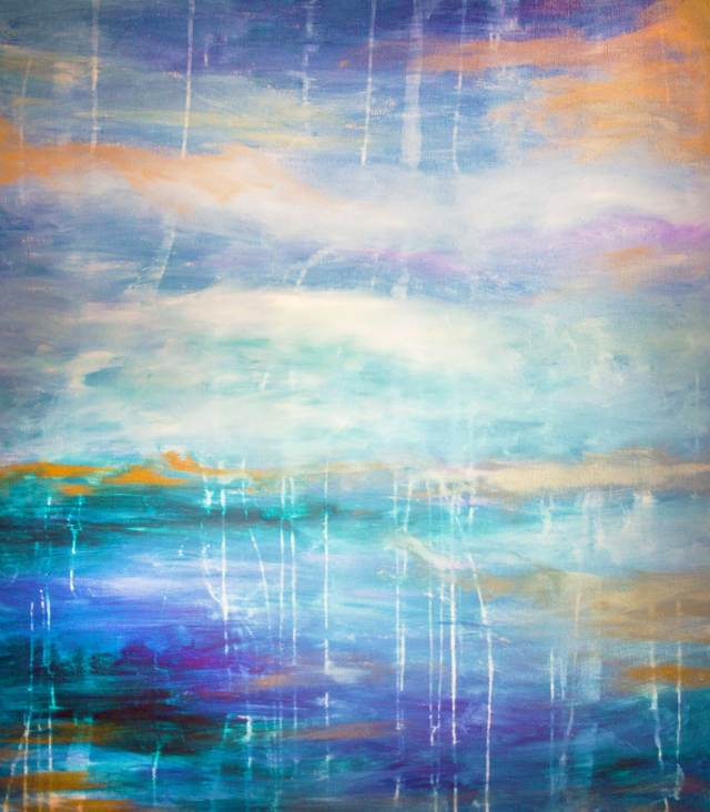 abstract painting with shades of blue, green, orange, and white